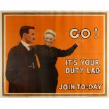 War Poster Your Duty Lad WWI UK Recruitment