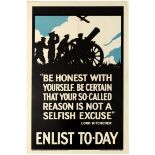 War Poster Be Honest With Yourself Enlist Today UK WWI