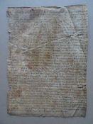 Recht.- Handschrift in deutscher Sprache auf Pergament, um 1500 (?). 40 Zeilen auf 1 Blatt. Ca. 31 x