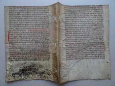 Theologie.- Makulatur-Umschlag. Lateinische Handschrift (gotische Minuskel) auf Pergament. Um