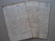 Recht.- Finanzgeschäfte und Verträge. 6 Schriftstücke. 4 Schreiben Verden und Hardenberg 1740, 2