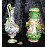 Henkelkanne und Vase mit Fabelwesen, Höhe der Kanne ca. 37 cm, Höhe der Vase ca. 33,5 cm, Kanne im