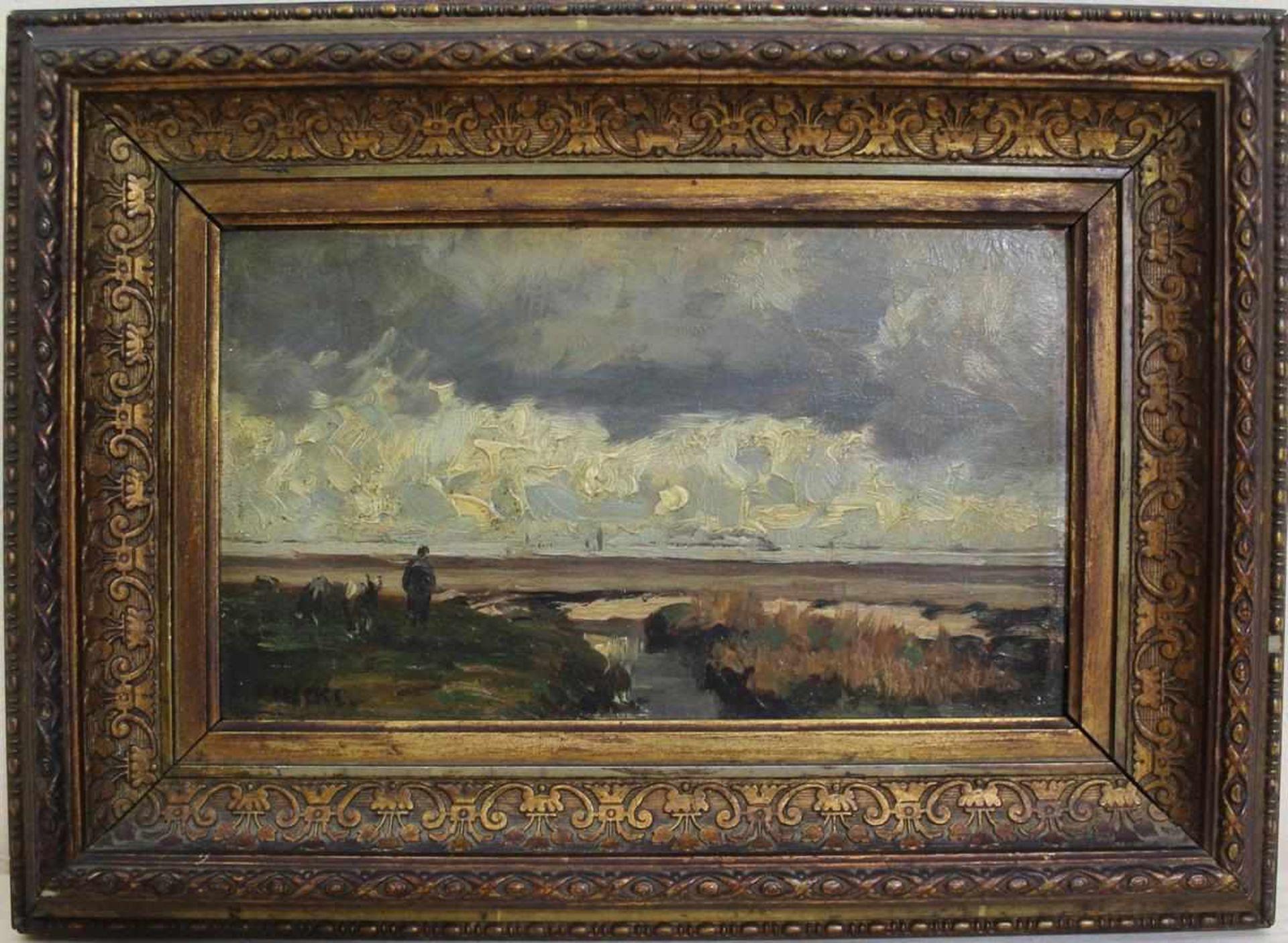 August Triebe: Ölgemälde Motiv von der Nordsee, Öl auf Holzplatte, Original Holzrahmen, ca. 9 x 16
