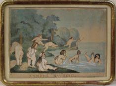 Kupferstich Nymphs bathing, herausgegeben von William Hollarld London 1792, handkoloriert,