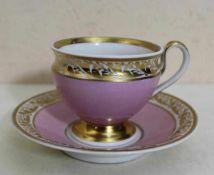 Biedermeier Tasse mit Untertasse KPM-Berlin um 1835, Porzellan mit rosafarbenem Fond und