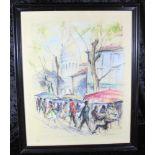 Aquarell: Monmartre-Paris, lebhafte Strassenszene am Montmartre, u. Glas gerahmt, ca. 61 x 48 cm,
