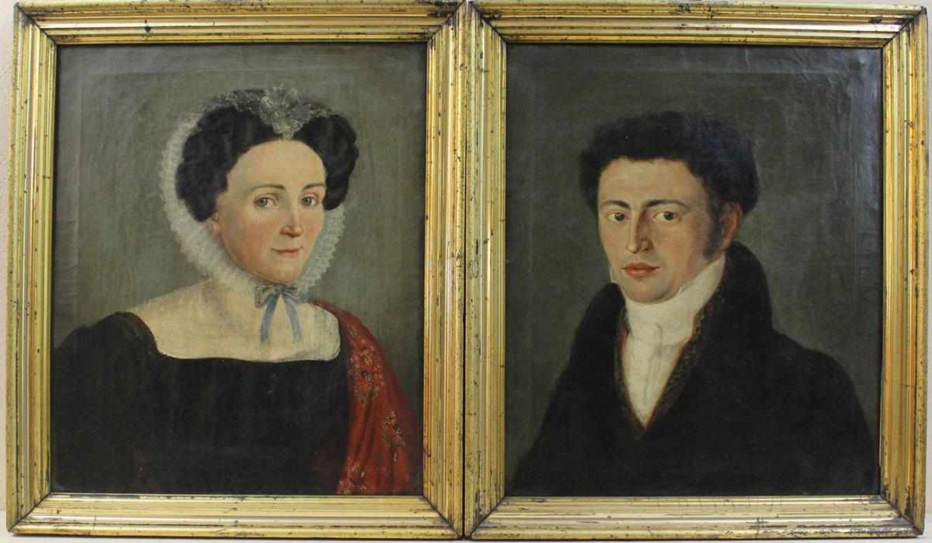 Zwei Biedermeier Porträts einer Dame u. eines Herrns in zeittypischer Kleidung wohl deutsch um 1830,