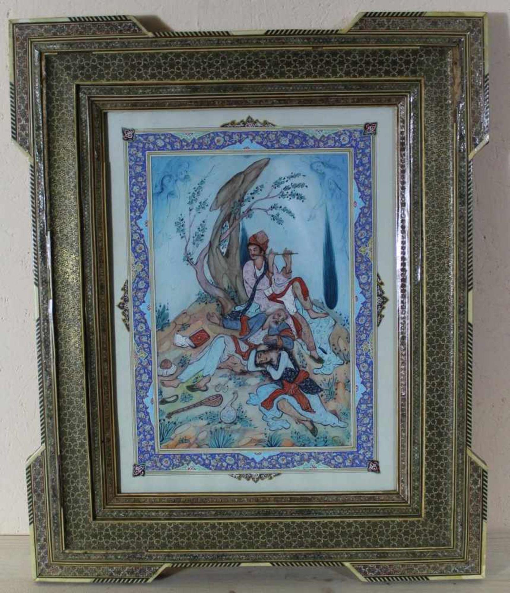 Gouache Persische Malerei 20. Jh., unter Glas im original Holzrahmen mit Einlegearbeiten, ca. 35 x