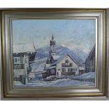 Julius Köhrer: Ölgemälde Ein Wintertag in Mittenwald, Öl auf Malkarton, Holzrahmen, ca. 49 x 60