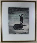 Andreas Paul Weber: Lithographie Die schwarze Ziege, u. Glas im Holzrahmen, ca. 51 x 40 cm, Gesamt