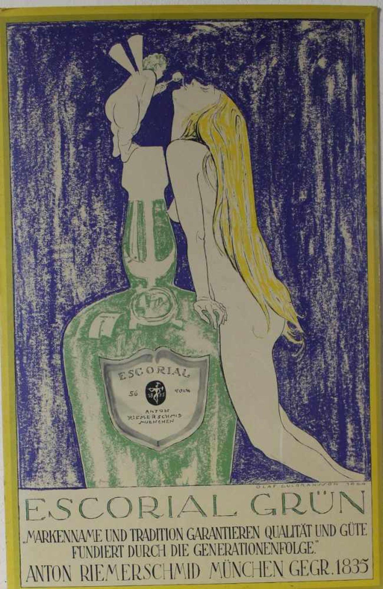 Werbetafel Escorial grün nach Olaf Gulbrannsson, Reprint nach dem Entwurf von 1924, ca. 69 x 45