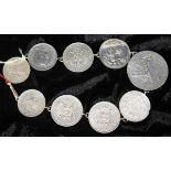 Münzkette mit verschiedenen Silbermünzen, Silber geprüft, Münzen u. a. Deutsches Reich 1871-1945,