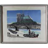 Farbholzschnitt Notre Dame in Paris, unles. sign. und dat. 58 (1958), unter Glas gerahmt, ca. 50 x