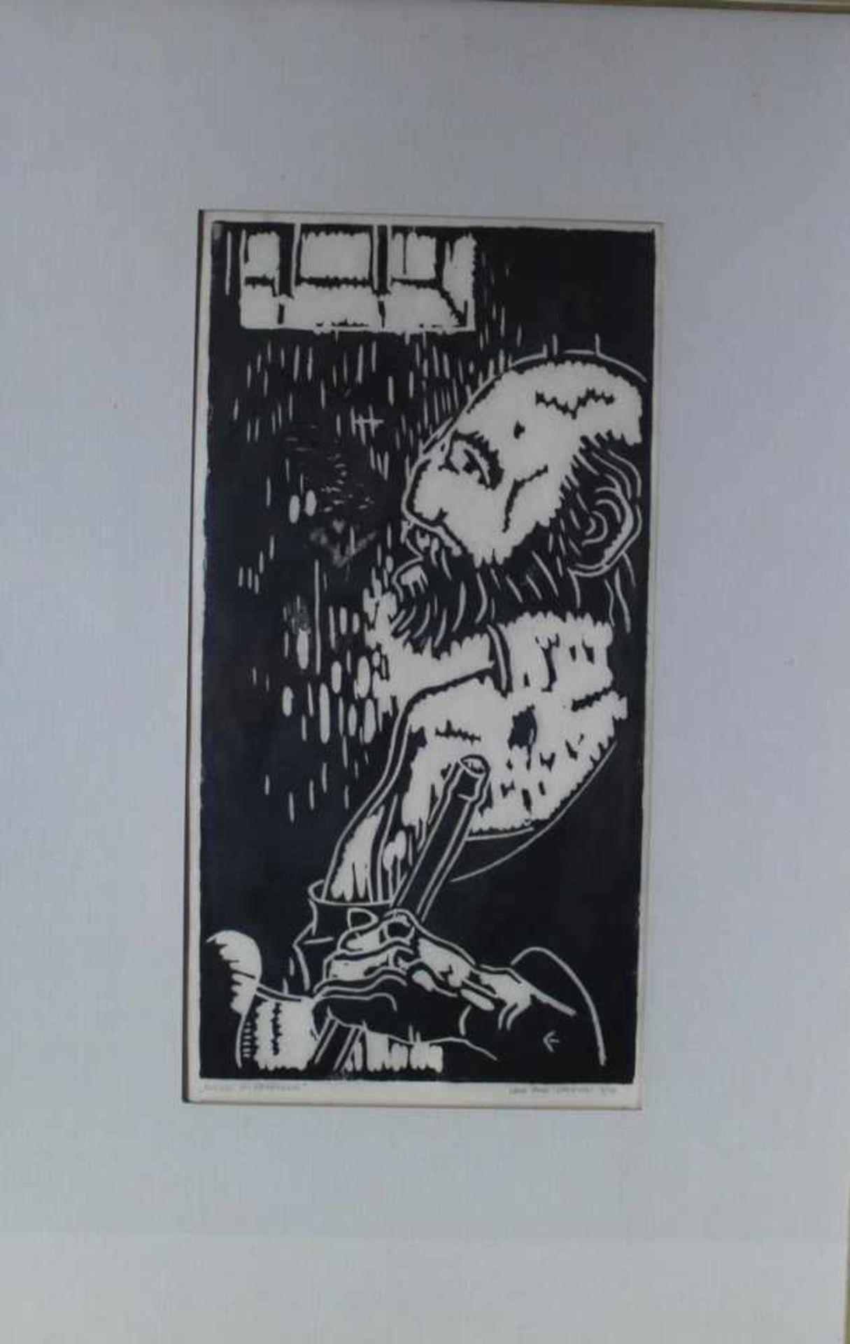 Eric Pohl-Cammin: Holzschnitt Paulus im Gefängnis Nr. 4/50, u. Glas im Passepartout gerahmt, ca.