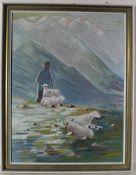 Ölgemälde Schäfer mit Herde in den Bergen, Öl auf Hartfaserplatte, Holzrahmen, ca. 60 x 44 cm,