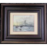 Aquarell: Fischerboote auf stürmischer See, u. Glas im Holzrahmen, ca. 17 x 22 cm, Gesamt ca. 40 x