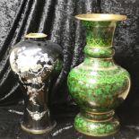 Zwei grosse Vase China emailliert und lackiert, Messing, Höhe jeweils ca. 51,5 cm und 44 cm, guter