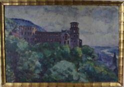 Walter Loy: Ölgemälde Schlossruine Heidelberg, Öl auf Malkarton, Holzrahmen, ca. 45 x 67 cm,