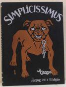 Konvolut Simplicissimus Jahrgangsbücher Nachkriegsausgaben bestehend aus 12 Bänden jeweils 1. u.