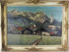 L. Fischer: Ölgemälde Dorf mit Berglandschaft, Öl auf Sperrholz, Holzrahmen mit Stuckauflage, ca. 50