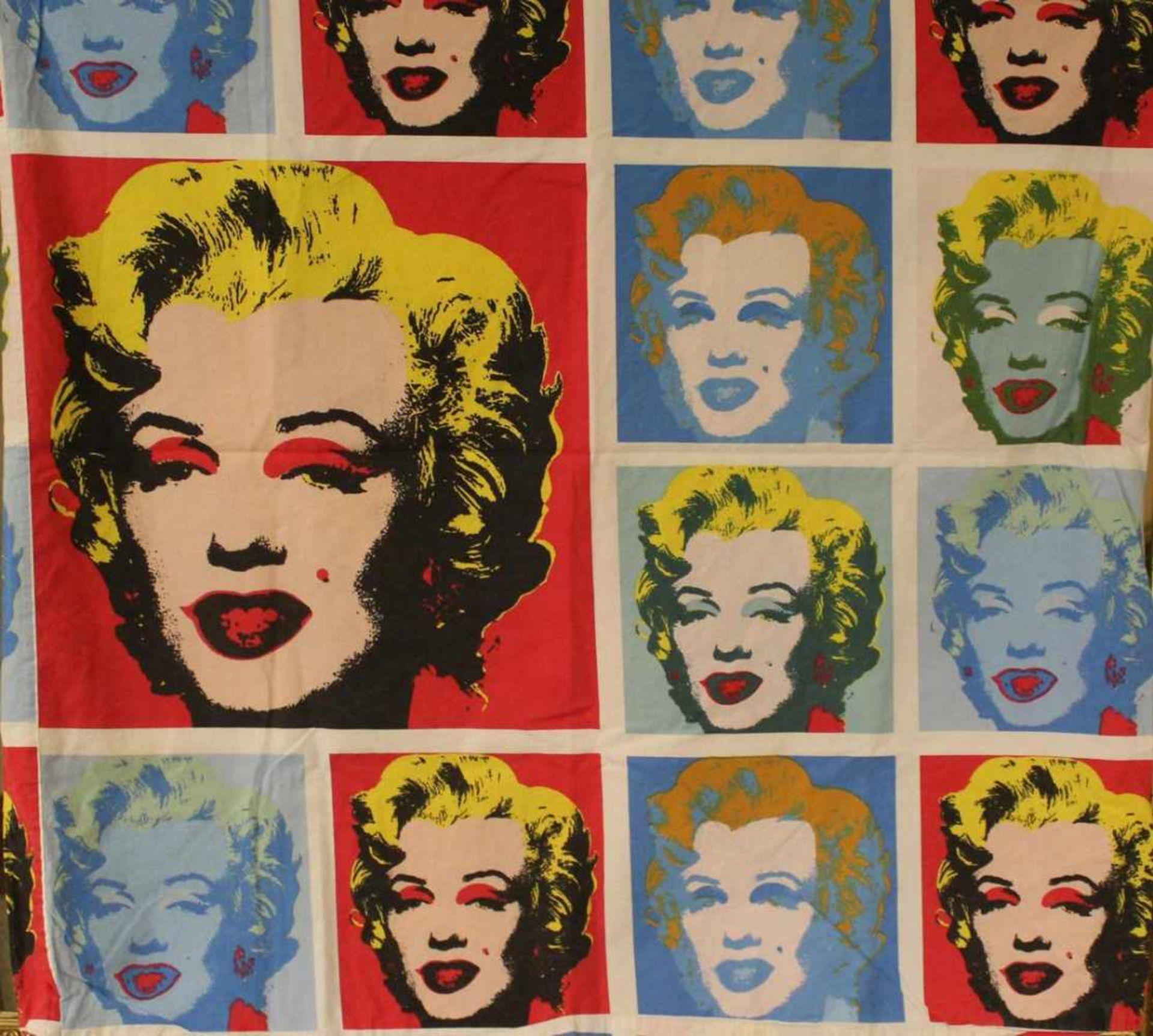2 Bettwäschegarnituren Motiv Marylin Monroe nach Andy Warhol, gebraucht, Grösse Kopfkissenbezug