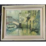 Dileo, ital. Maler Mitte 20.Jh., Brücke in Venedig, Öl auf Leinwand, unten rechts signiert, 29 x