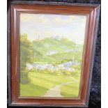 Ölgemälde: Dorfansicht mit Burg, Öl auf Malkarton, Holzrahmen, ca. 38 x 28 cm, Gesamt ca. 48 x 38