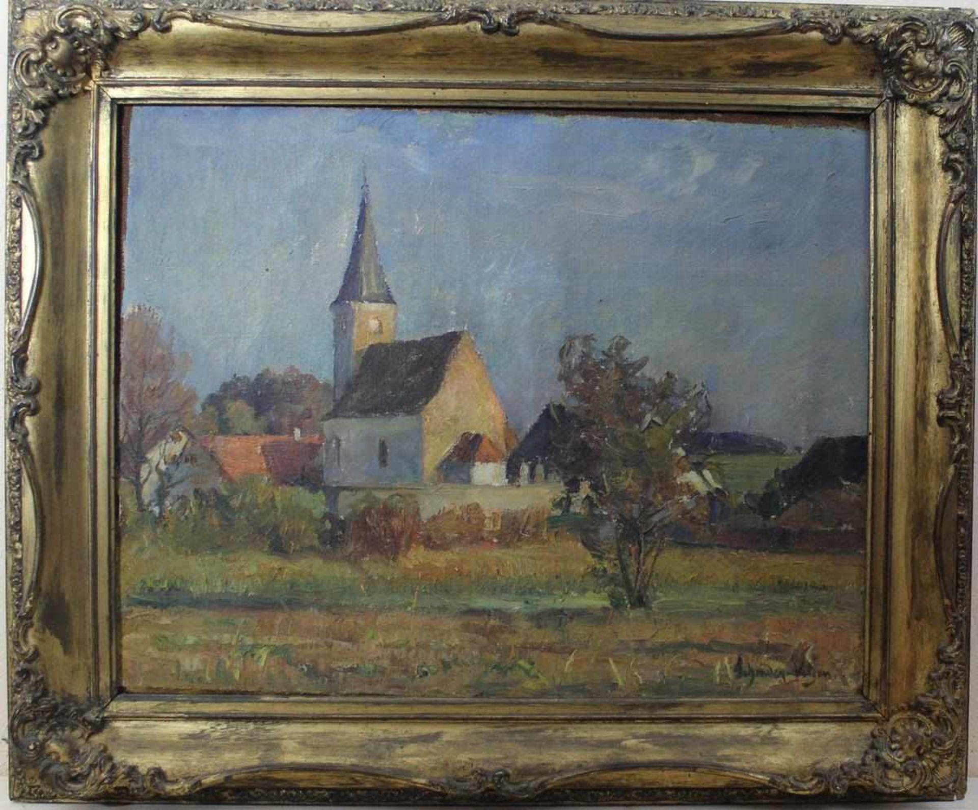 Carl Schrader-Velgen: Ölgemälde Dorfkirche, Öl auf Leinwand, Holzrahmen mit Stuckauflage, ca. 51 x