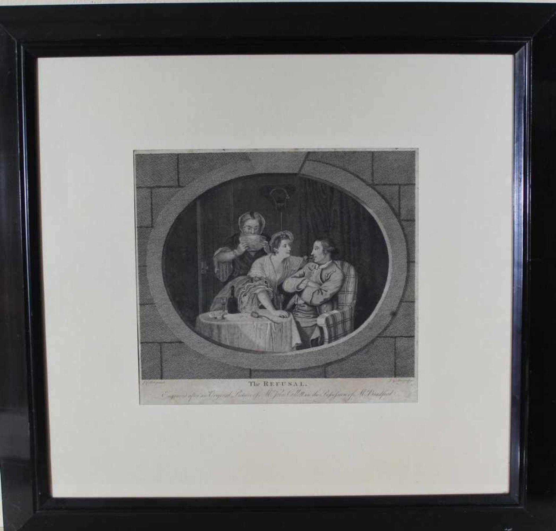 John Goldar: Kupferstich The refusal 1768, unter Glas mit Passepartout im Holzrahmen, ca. 32 x 34