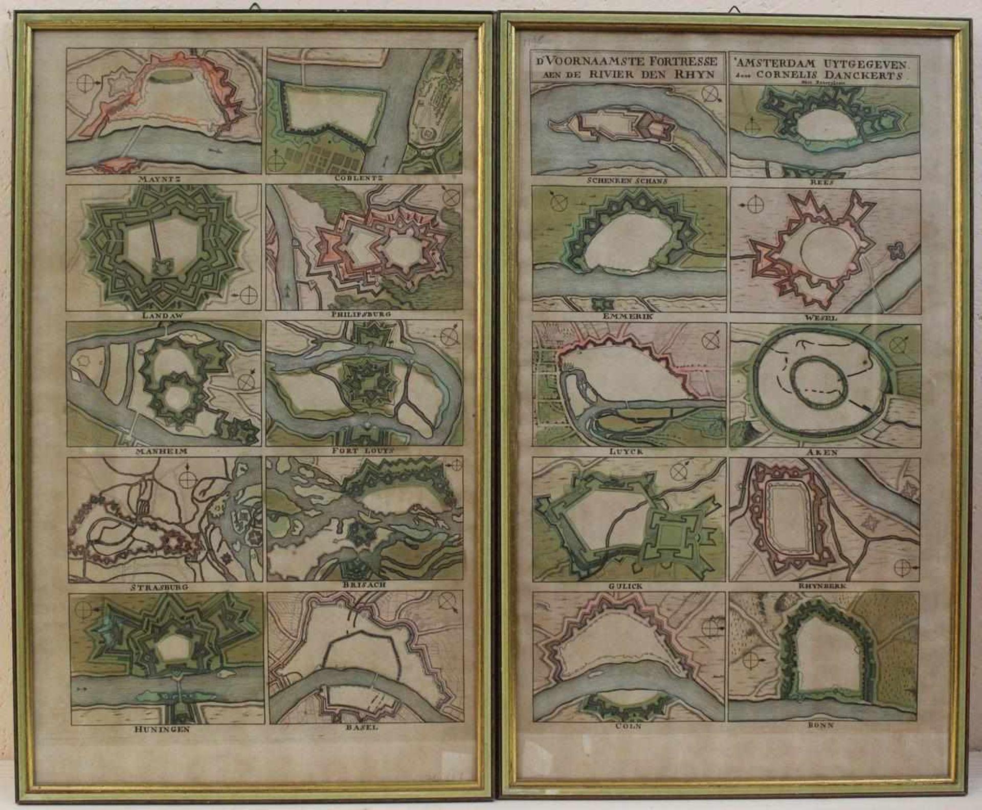 Cornelius Danckerts: 2 Kupferstiche Die wichtigsten Festungen am Rhein, handkoloriert, Darstellung