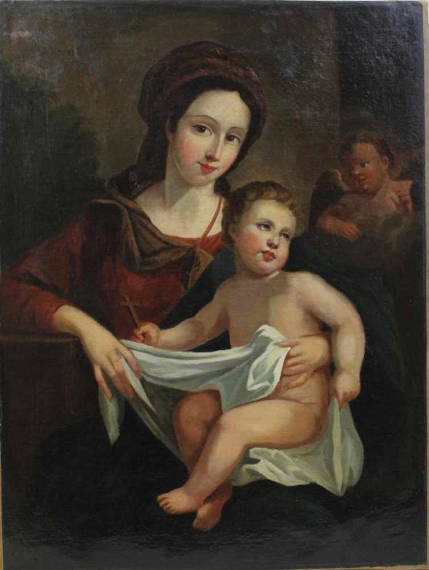 Ölgemälde Maria mit dem Jesuskind wohl Italien Ende 18 Jh., Öl auf Leinwand, o. Rahmen, ca. 76,5 x
