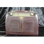Bakelit Kofferradio Weekend LMT France, Herstellung um 1953 ( Le Matériel Téléphonique ), ca. 23 x