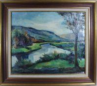 Max Ersfeld: Ölgemälde Flusslandschaft an der Sauer, Öl auf Leinwand, Holzrahmen, ca. 50 x 60 cm,