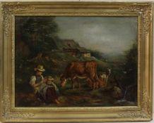 Edouard Woutermaertens: Ländliche Szenerie, Mutter mit Kind, Kühen und Ziegen, im Hintergrund ein