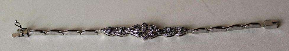 Damenarmband Silber mit 8 Kant Diamanten, Länge ca. 18 cm, nicht punziert. 004-2
