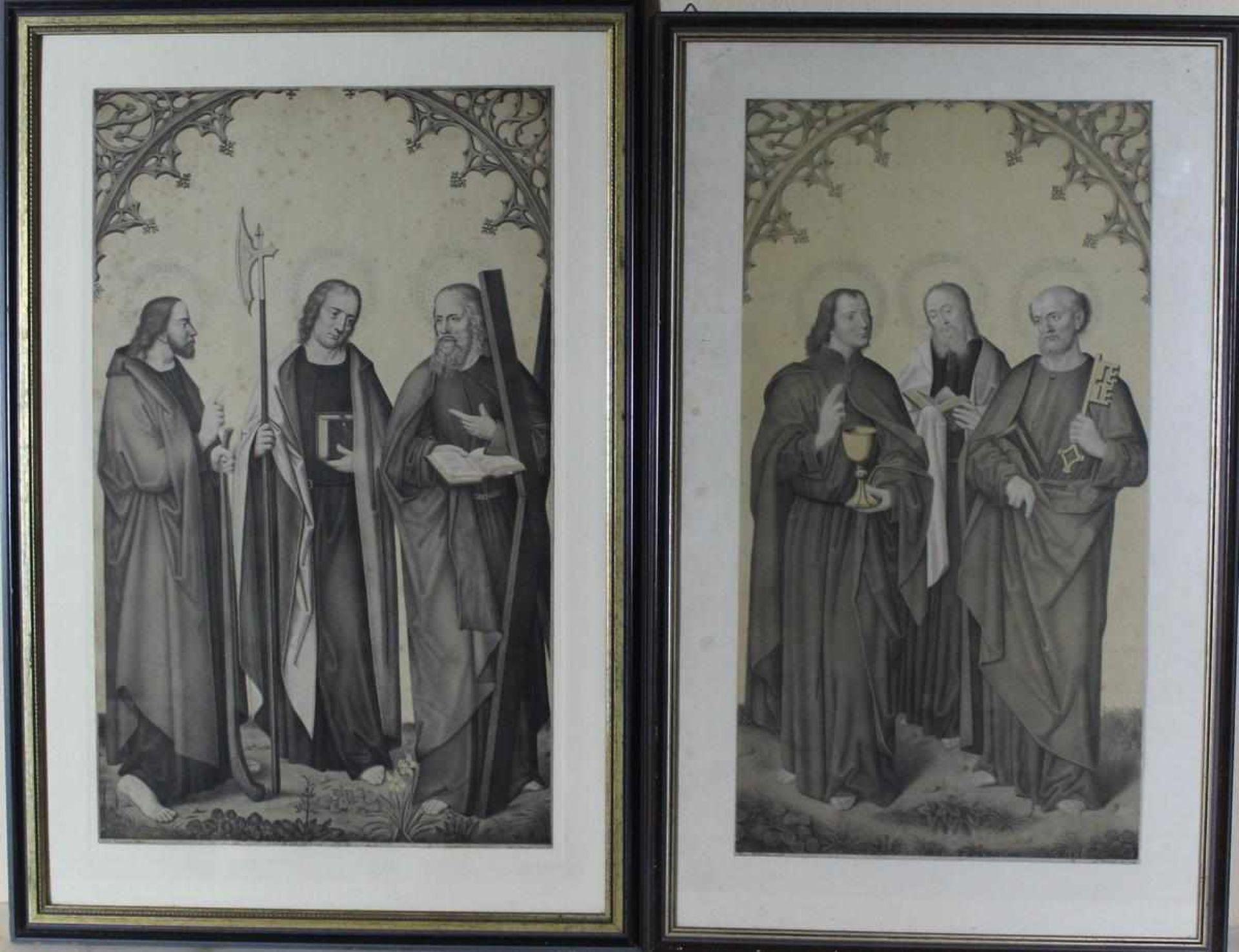 Johann Nepomuk Strixner: 2 Kupferstiche mit Aposteldarstellungen nach Israhel van Meckenem, u.