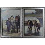 2 Ölgemälde wohl Ungarn um 1930 m. Kühen und Pferden, Öl auf Malkarton, Holzrahmen, jeweils ca. 50 x