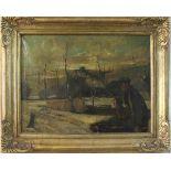 P. Rinsema: Ölgemälde Personen am Fluss, Öl auf Leinwand, Holzrahmen, ca. 61 x 80 cm, Gesamt ca.