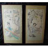 Zwei Seidenbilder Japan um 1920, Aquarelltechnik, musizierende Mädchen, sign., u. Glas im