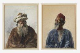 2 Bilder, Max Friedrich Rabes (Samter, Posen 1868-1944), Porträt von 2 Arabern, Aquarell auf Papier,