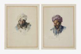 2 Bilder, Max Friedrich Rabes (Samter, Posen 1868-1944), Porträts, Mohamed, Mohamed Ali, Aquarell