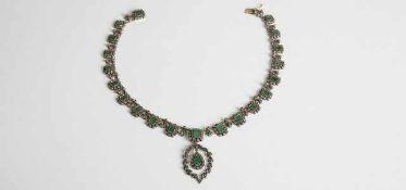 Diamant Smaragd Collier Silber ca. 800, Gold plattiert mit Smaragde zus.ca. 20 ct und