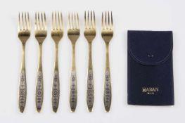 6 Russische Gabeln Silber 875, St.Petersburg, Niello-Dekor, vergoldet, 271,6 g, mit Samthülle;