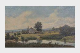 Albert Kollmann (Wien 1878-1962 Eisenstadt) Ziegelofen am Teich bei Eisenstadt, Öl auf Malplatte,
