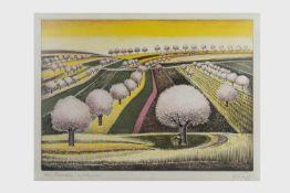 Gottfried Kumpf (Annaberg/Salzburg 1930 geb.) Baumblüte, Farblithografie, signiert Kumpf, Nr. 29 von