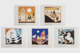 Gottfried Kumpf (Annaberg/Salzburg 1930 geb.) 5 Farblithografien, Gruppenbild mit Läufer, Sturm