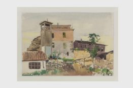 Ernst Huber (1895-1960) betitelt Varna, signiert und datiert Ernst Huber 1934, Mischtechnik auf
