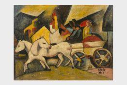 Béla Kádár zugeschrieben (ungarischer Maler 1877- 1956), Komposition, Öl auf Platte, 41,5 x 53,5 cm,