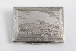 Kleine rechteckige Tabatiere Silber 900, Vorderansicht mit Stadtmotiv, Rückseite Liebespaar mit