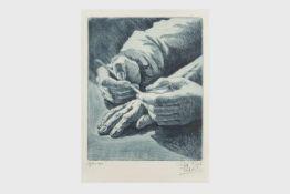 """Erich Veit (1896-1981) """"Hände"""", Radierung, signiert Erich Veit, in der Platte 19x24 cm, verglast,"""